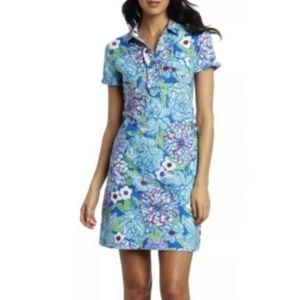 Lilly Pulitzer Carolyn Blue Floral Cotton Dress